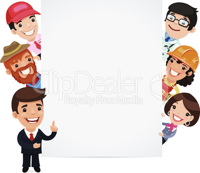 Diverse Professional Presenting Empty Vertical Banner