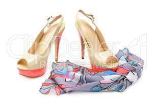 elegant sandals and scarf