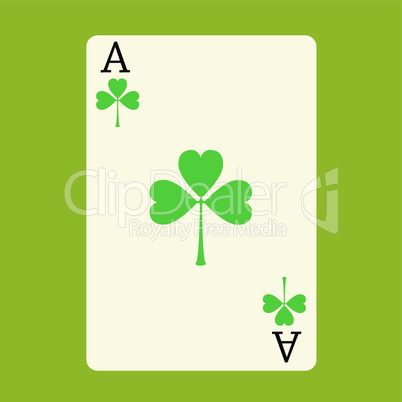 Playing card ACE with a green Shamrock Patrick's day