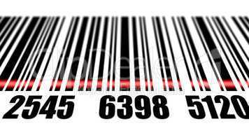 Barcode reading on white background.