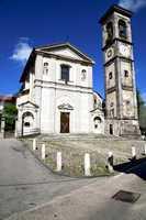 the sumirago    church  closed brick tower sidewalk italy