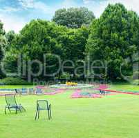 Lounge chairs for relaxing in the summer park