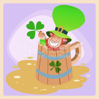 Leprechaun in a mug of beer St. Patrick's day