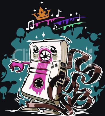 Cartoon Audio Cassette Tape on Dark Background