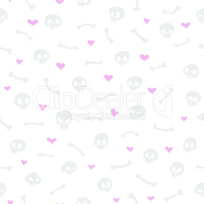 Cartoon Skulls with Hearts on White Background Seamless Pattern