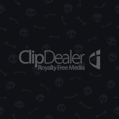 Gray Cartoon Skulls on Black Background Seamless Pattern