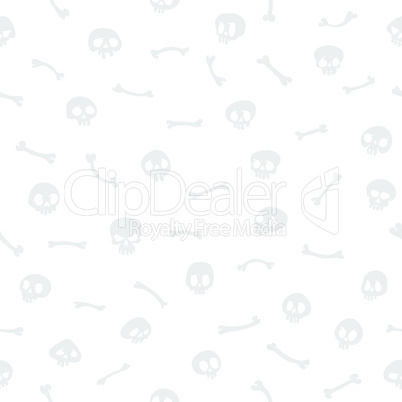 Gray Cartoon Skulls on White Background Seamless Pattern