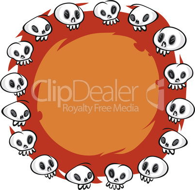 Cartoon Skulls Round Frame on White Background