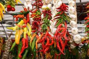 Fresh chili peppers and garlic