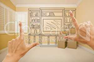 Framing Hands In Empty Room with Shelf Drawing on Wall