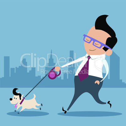 Businessman dog walk office worker