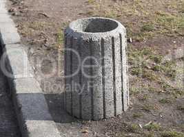 Stone garbage trash container refuse bin