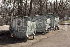 Old metal garbage trash container refuse bin
