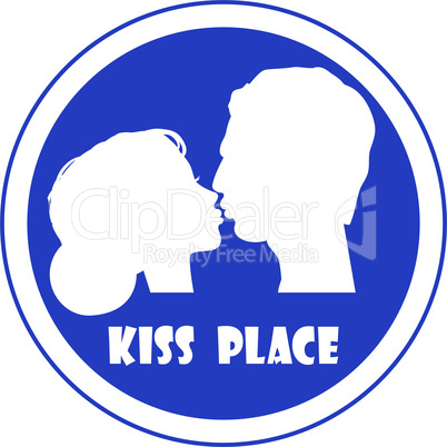 Special place for a kiss vector sign illustration