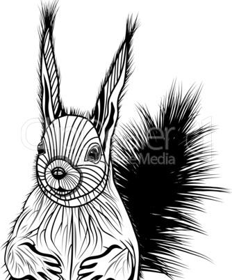 Squirrel head vector animal illustration for t-shirt.