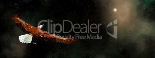 Eagle flying in the universe - 3D render