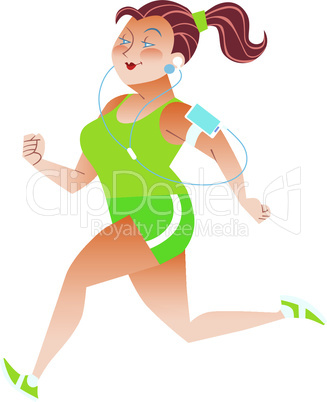 Sporty woman running herding weight kilocalories listens to music player