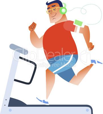 Fat man on a stationary treadmill