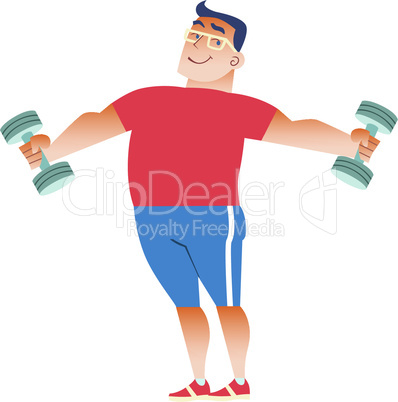 Fat man plays sports with dumbbells