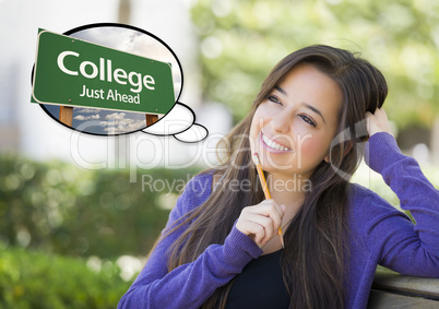 Young Woman with Thought Bubble of College Green Road Sign