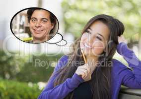 Pensive Woman with Handsome Young Man Thought Bubble
