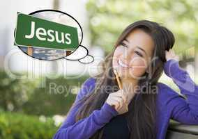 Young Woman with Thought Bubble of Jesus Green Road Sign