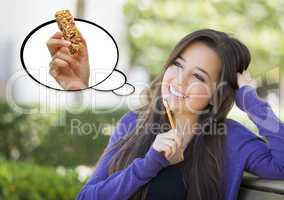 Pensive Woman with Snack Bar Inside Thought Bubble
