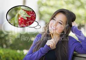 Pensive Woman with Strawberry Inside Thought Bubble