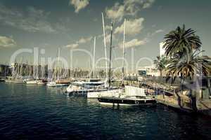 Sailboats at Port Vell, Barcelona - Spain.