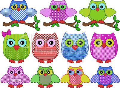 Set of twelve ornamental cartoon owls
