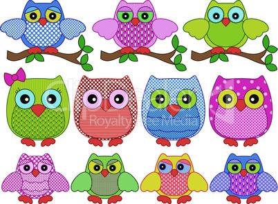 Set of twelve ornamental cartoon owls