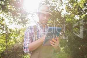 Farmer using his tablet pc