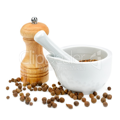 kitchen equipment for grinding spices isolated on a white backgr