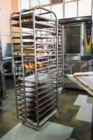 Catering building with shelf of fresh breads