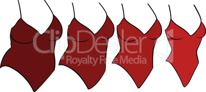 Four female swimwear different sizes