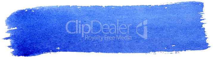 Blue stroke of gouache paint brush isolated on white