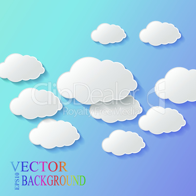 Vector abstract background composed of white paper clouds over blue. Eps10.
