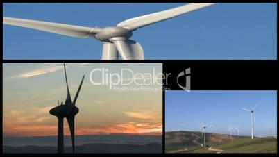 Wind turbines generators clean power montage