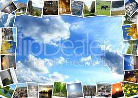 motley pictures on the blue sky background