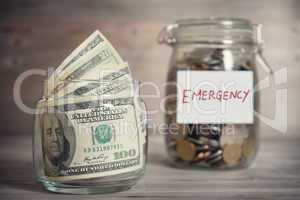 Financial concept with emergency label.