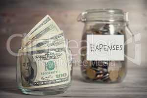 Financial concept with expenses label.