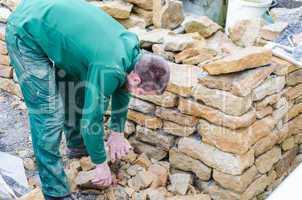 Stein Mauer, Trocken Mauer, Sandstein