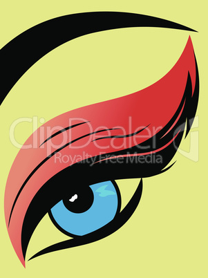 Colourful eye with fluffy eyelid close-up