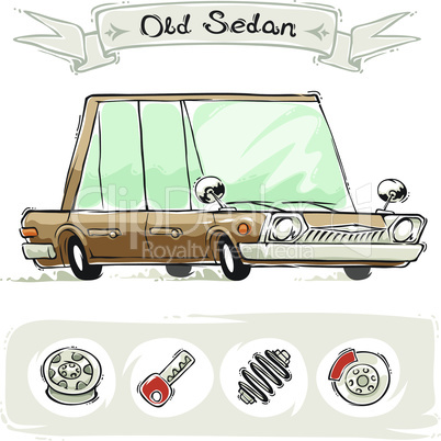 Old Cartoon Sedan Set