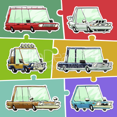Cartoon Cars Stickers Set