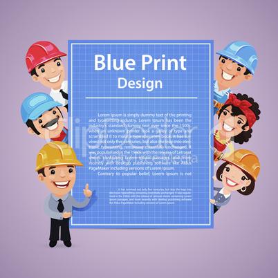 Builders Presenting Blue Print Poster