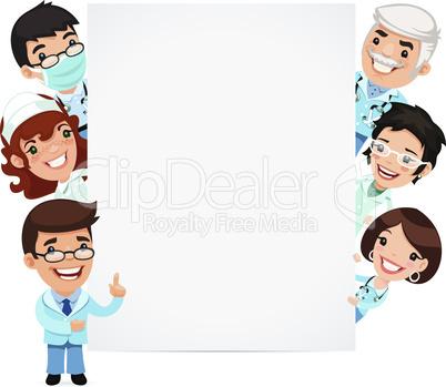 Doctors Presenting Empty Vertical Banner