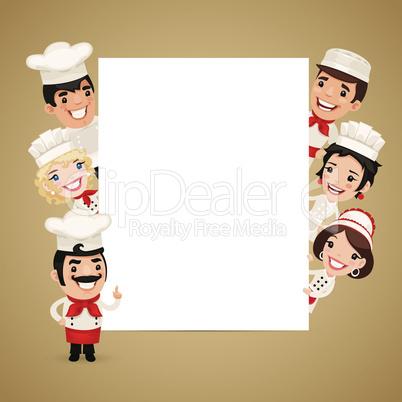 Chefs Presenting Empty Vertical Banner