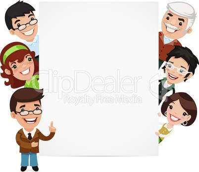 Teachers Presenting Empty Vertical Banner