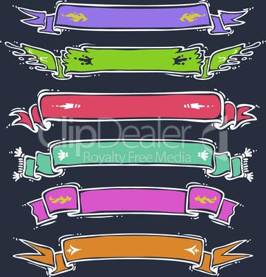 Cartoon Ribbons Set